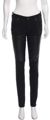 Elizabeth and James Textiles x Leather-Accented Low-Rise Jeans