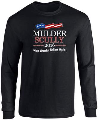 Scully Mulder & 2016 Make America Believe Again L Long Sleeve T-Shirt by Pop Threads