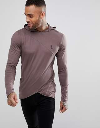 Religion Long Sleeve T-Shirt With Cross Hem and Hood