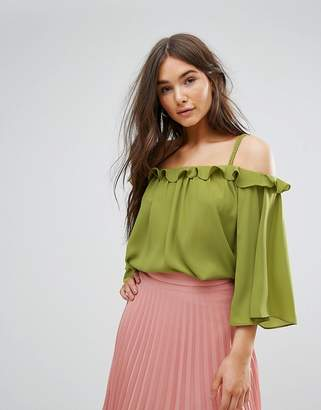 Traffic People Off The Shoulder 3/4 Sleeve Top