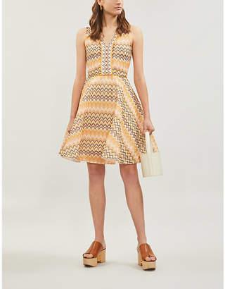 Maje Reinetta chevron-print sleeveless fit and flare guipure dress