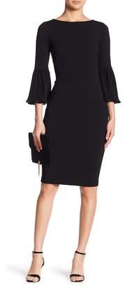 Modern American Designer Pleated Chiffon Sleeve Sheath Dress