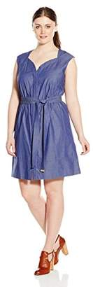 Ellen Tracy Plus Size Womens Cap Sleeve Dress with Self Belt and Sweetheart Neckline