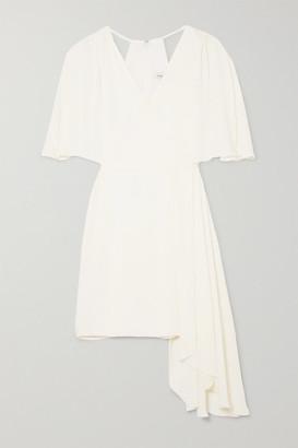 Halston Cutout Draped Chiffon Mini Dress - White