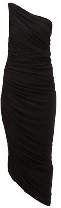 Norma Kamali Diana Asymmetric Ruched Midi Dress - Womens - Black