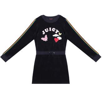 Juicy Couture Velour Rainbow Love Long Sleeve Dress for Girls