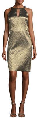 Trina Turk Metallic Zigzag Jacquard Cocktail Dress