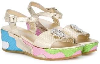 Roberto Cavalli Junior metallic sandals