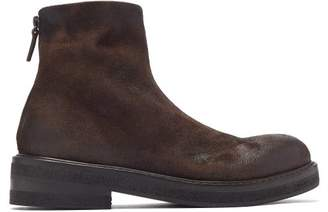 Marsèll Distressed Stacked Sole Suede Ankle Boots - Mens - Dark Brown