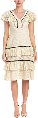 Champagne & Strawberry Lace Midi Dress