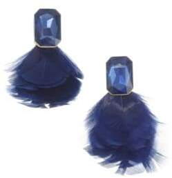Kate Spade In Full Feather Jewel Feather Stud Earrings