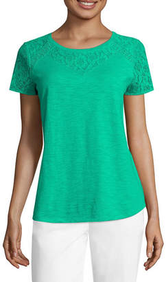 Liz Claiborne Short Sleeve Lace Yoke T-Shirt-Womens