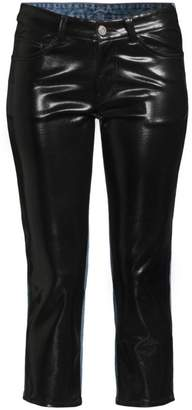 we11done Cropped Faux-Leather & Denim Pants