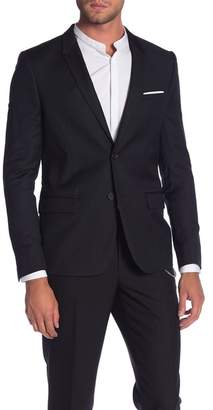 The Kooples Dark Pique Two Button Notch Lapel Jacket