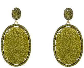 Latelita London - Stingray Pave Oval Earring Kiwi