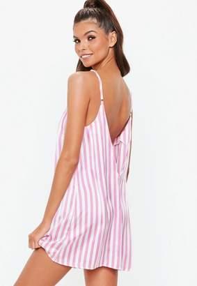 Missguided Pink Candy Stripe V Neck Night Dress