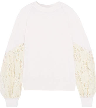 Clu Lace-paneled Slub Jersey Sweatshirt - Ivory