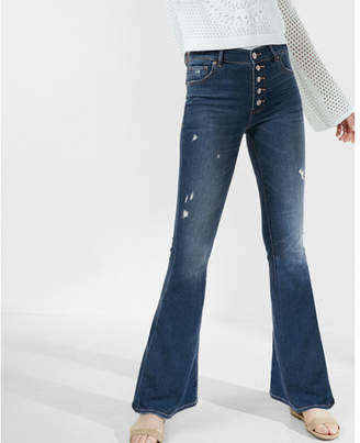 Express high waisted button fly stretch+supersoft bell flare jeans