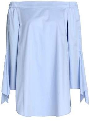 Tibi Off-The-Shoulder Draped Cotton-Poplin Top
