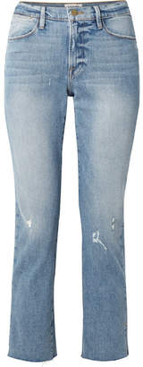 Frame Le High Distressed Cropped Straight-leg Jeans - Mid denim