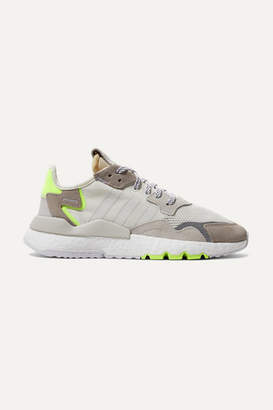 adidas Nite Jogger Ripstop, Mesh And Suede Sneakers - Off-white