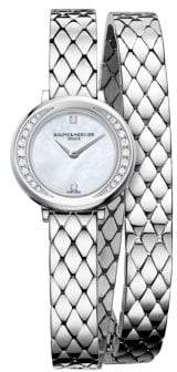 Baume & Mercier Petite Promesse 10289 Diamond and Stainless Steel Wraparound Bracelet Watch