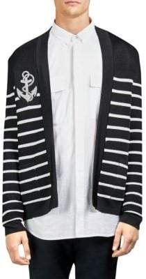 Balmain Striped Logo Cotton Open Front Cardigan