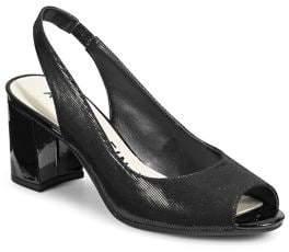 Anne Klein Leather Open Toe Slingback Pumps