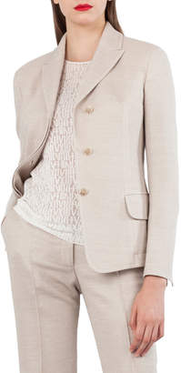Akris Wool Cotton Pique 3-Button Blazer Jacket