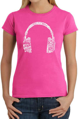 LOS ANGELES POP ART Los Angeles Pop Art Headphones - Languages Graphic T-Shirt