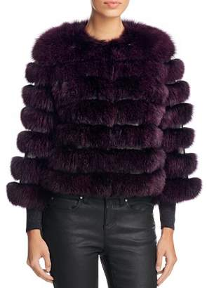Maximilian Furs Leather Trim Saga Fox Fur Coat