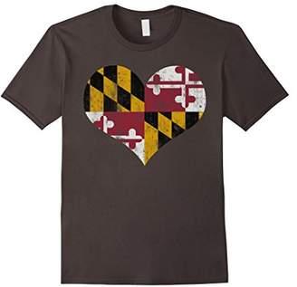 Vintage Heart Flag of Maryland T shirt