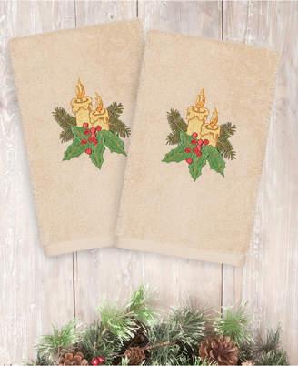 Linum Home Christmas Candles 100% Turkish Cotton 2-Pc. Hand Towel Set Bedding
