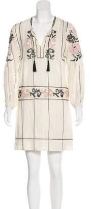 Ulla Johnson Embroidered Striped Mini Dress