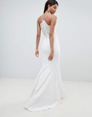 Jarlo Cami Strap Fishtail Maxi Dress With Lace Button Back Detail In White