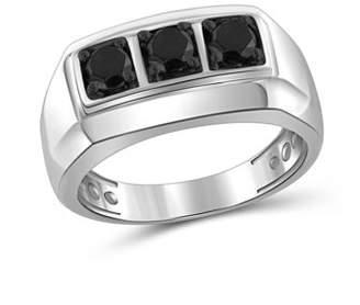 Black Diamond JewelersClub 1.00 CTW Round cut Three Stone Sterling Silver Men's Ring