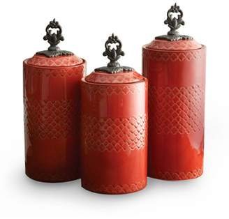 """American Atelier Red Set of 3 Canisters, 12.41""""H/11.3""""H/10.4""""H"""