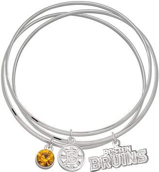Logoart LogoArt Boston Bruins Silver Tone Bangle Bracelet Set