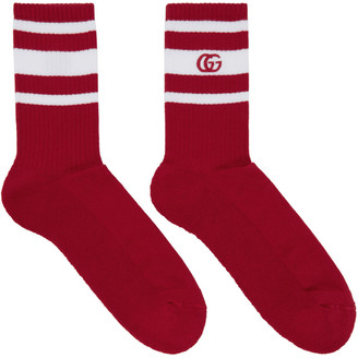 Gucci Red & White Logo Running Socks $105 thestylecure.com