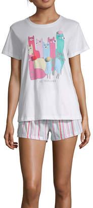 PEACE LOVE AND DREAMS Peace Love And Dreams Womens Shorts Pajama Set 2-pc. Short Sleeve