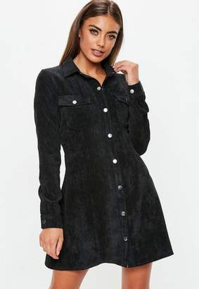 Missguided Black Corduroy Skater Shirt Dress