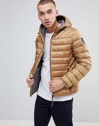 Napapijri Aerons Hooded Quilted Jacket in Beige
