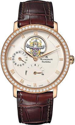 BLANCPAIN Villeret Tourbillon 18ct rose gold, diamond and alligator-leather watch