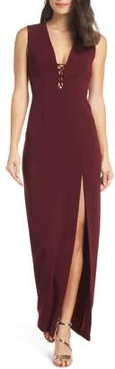 WAYF The Casey Plunge Neck Gown