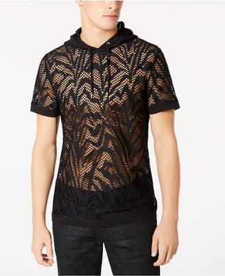 INC International Concepts I.n.c. Men Zebra-Stripe Hooded Mesh T-Shirt