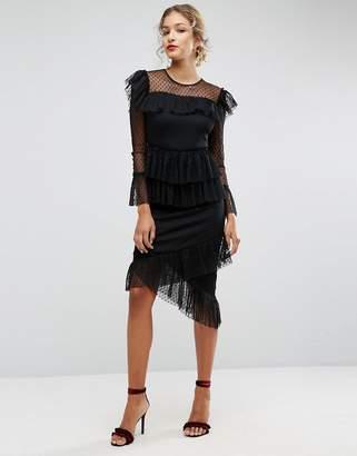 Asos Dobby Tiered Ruffle Midi Dress