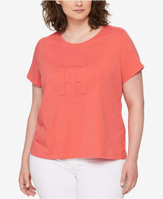 Tommy Hilfiger Plus Size Embossed Logo T-Shirt $39.50 thestylecure.com