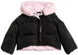 MonnaLisa Nylon Puffer Jacket W/ Faux Fur