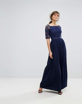 Little Mistress Off Shoulder Lace Maxi Dress With Pleated Skirt