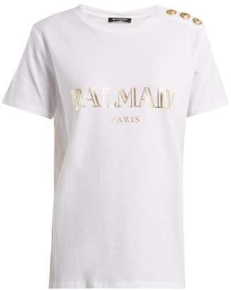 Balmain - Logo Print Cotton Jersey T Shirt - Womens - White